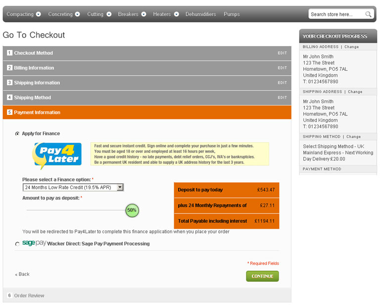 Finance Checkout Example